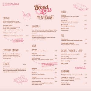 Menukaart broodjes en ontbijt